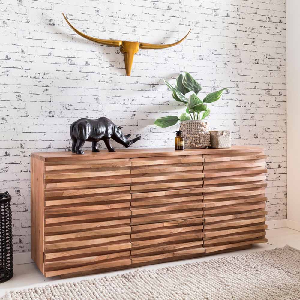 Massivholz Sideboard aus Akazie grob stukturiert 160 cm