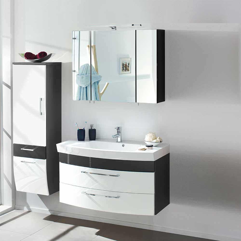 Design Badmöbel Set in Weiß Hochglanz Anthrazit (3-teilig) | Bad > Badmöbel > Badmöbel-Sets | Weiß | Holzwerkstoff | Möbel4Life