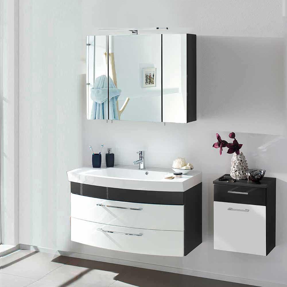 Badmöbel Ausstattung in Weiß Anthrazit Hochglanhz hängend (dreiteilig)