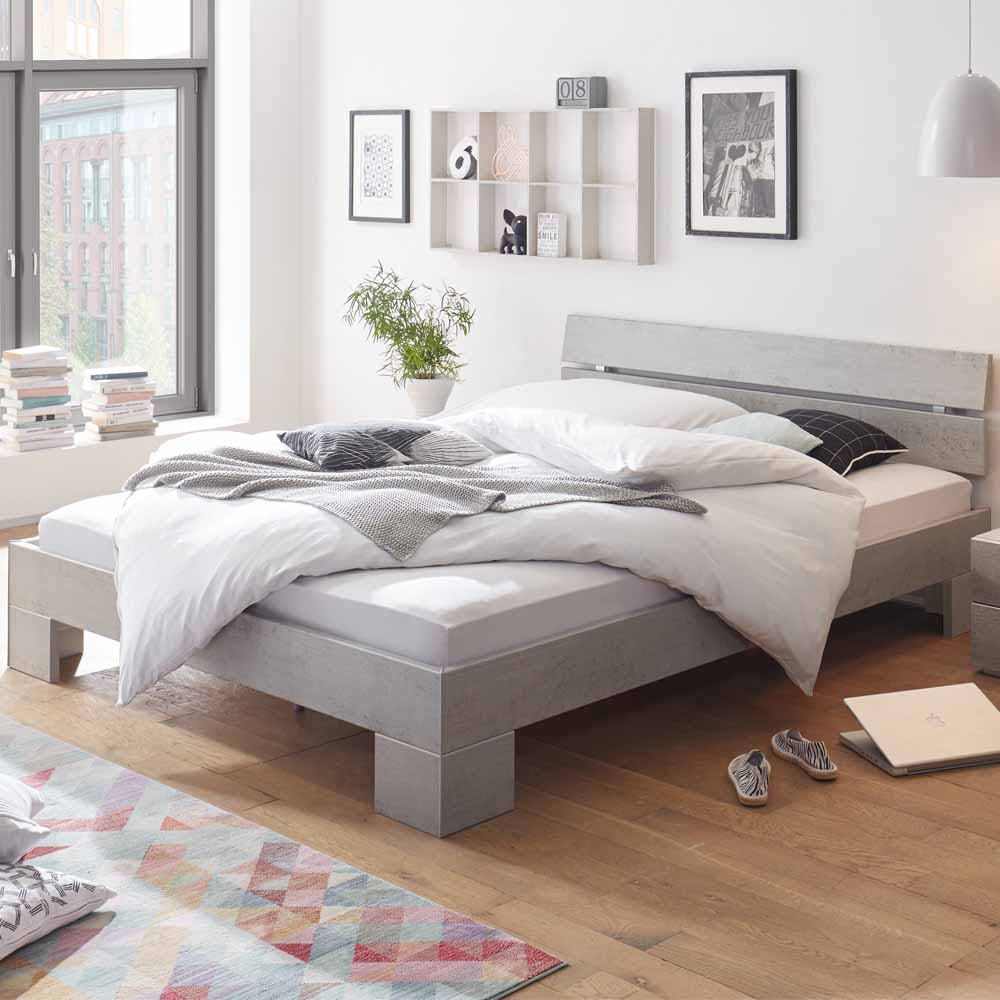 Jugendbett in Beton Grau modern