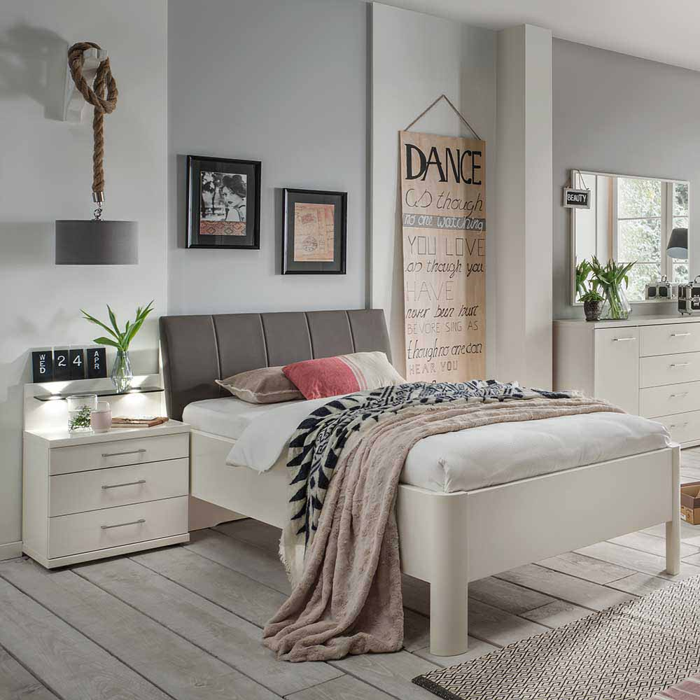 Bett mit Nachtkommode in Weiß Polsterkopfteil in Braun (zweiteilig)