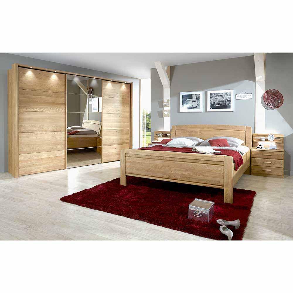 Schlafzimmereinrichtung aus Eiche teilmassiv Schiebetüren Kleiderschrank (vierteilig)