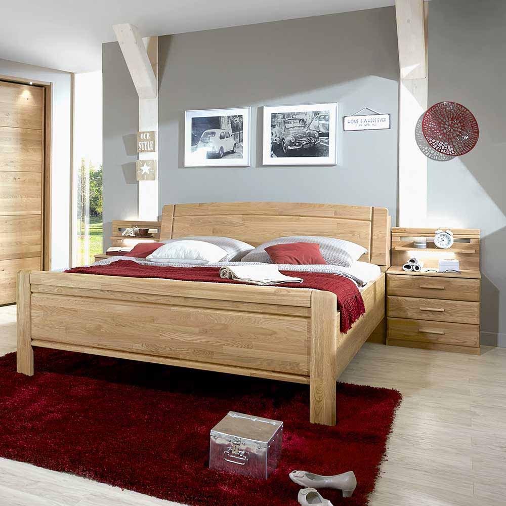 Doppelbett mit Bettkasten Eiche (dreiteilig)
