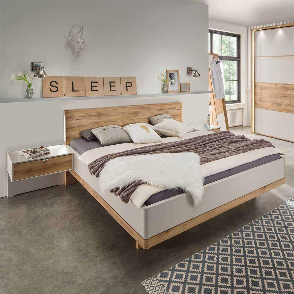 Jugendbett in Beige Eiche Nachtkommoden (3-teilig) | Kinderzimmer > Jugendzimmer > Jugendbetten | Franco Möbel