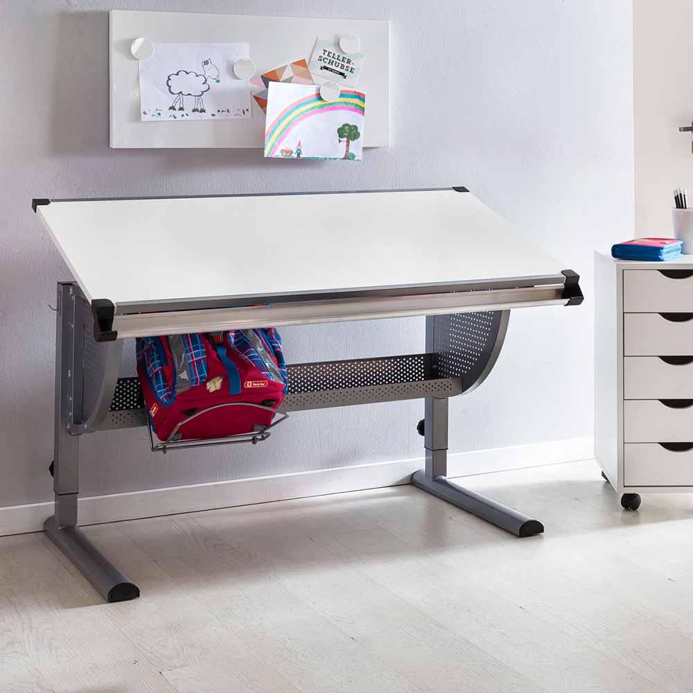 Kinderschreibtisch höhenverstellbar Tischplatte neigbar   Kinderzimmer > Kindertische > Kinderschreibtische   Weiß   Metall   Möbel4Life