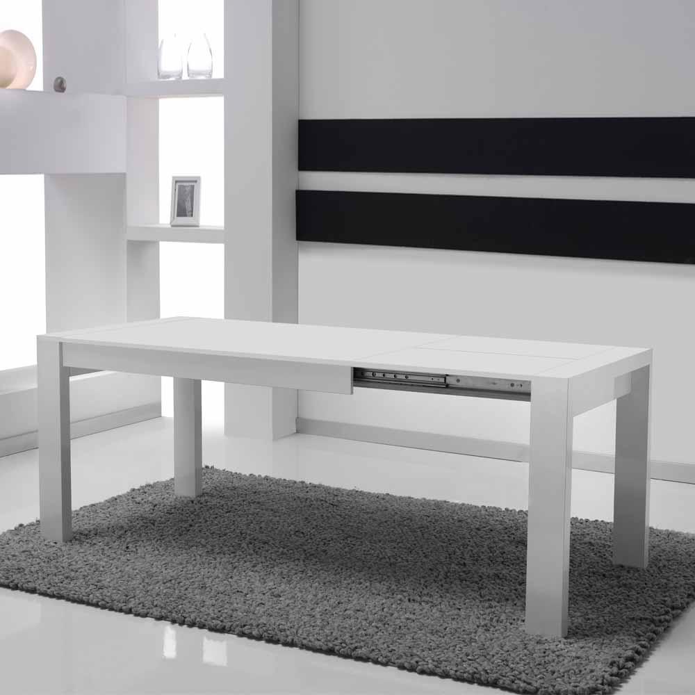 Hochglanz Esstisch in Weiß ausziehbar
