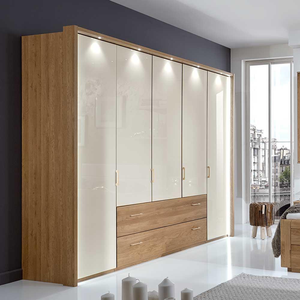 Kleiderschrank aus Eiche Weiß Glas 220 cm hoch