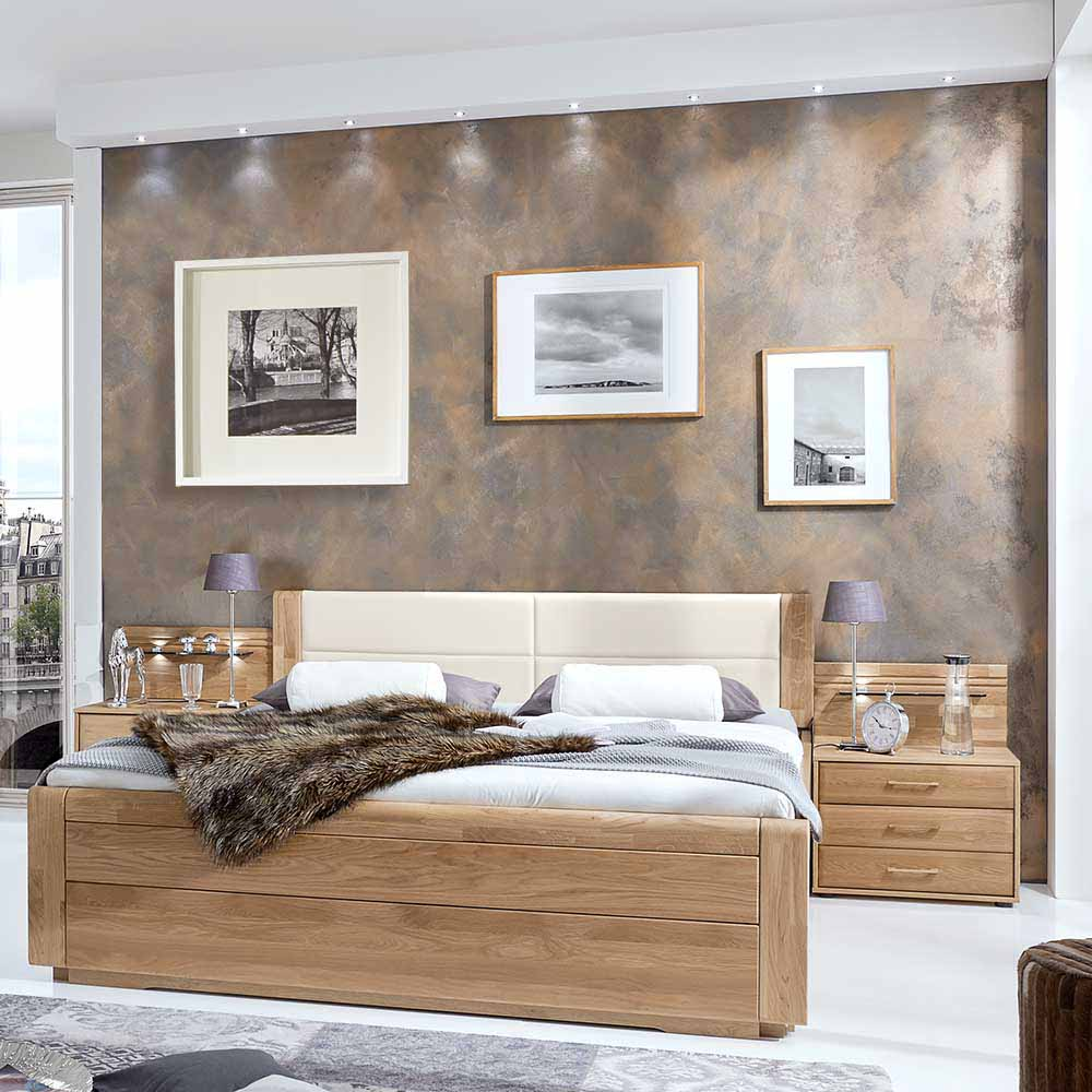 Komfortbett aus Eiche Polsterkopfteil in Creme Weiß (dreiteilig)