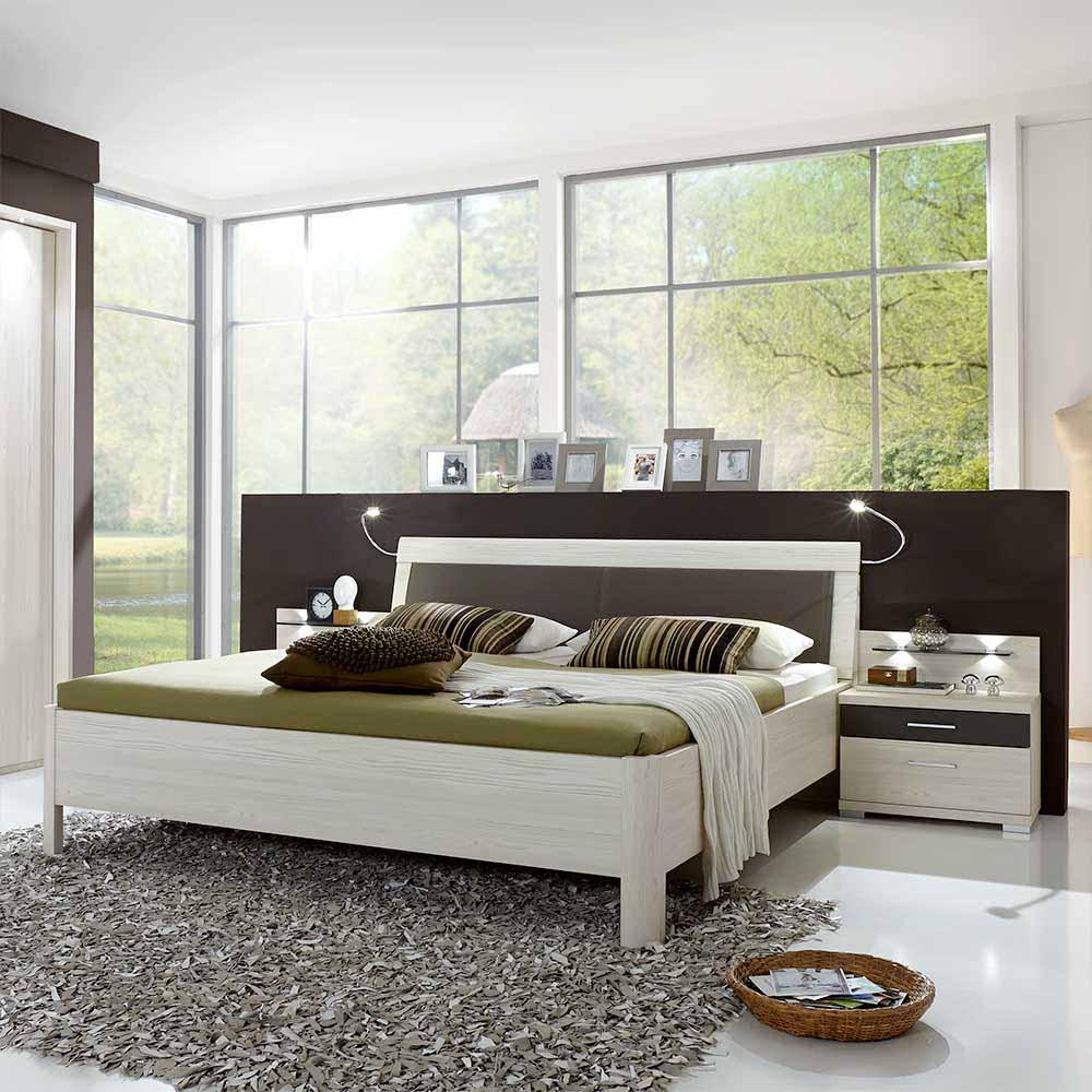 Doppelbett in Lärche Weiß Grau Nachtkommoden (dreiteilig)