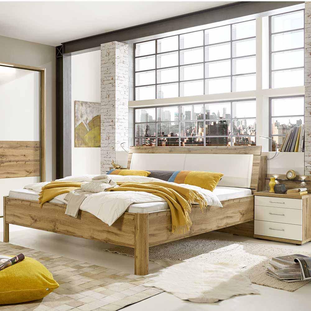 Komfortbett in Eiche Weiß Nachtkommoden (dreiteilig)