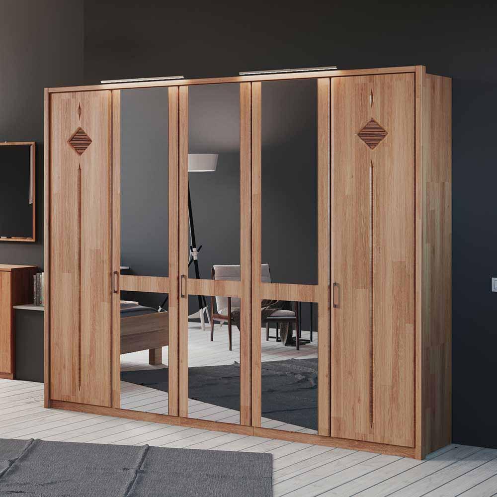 Schlafzimmer Kleiderschrank aus Erle Spiegeltüren