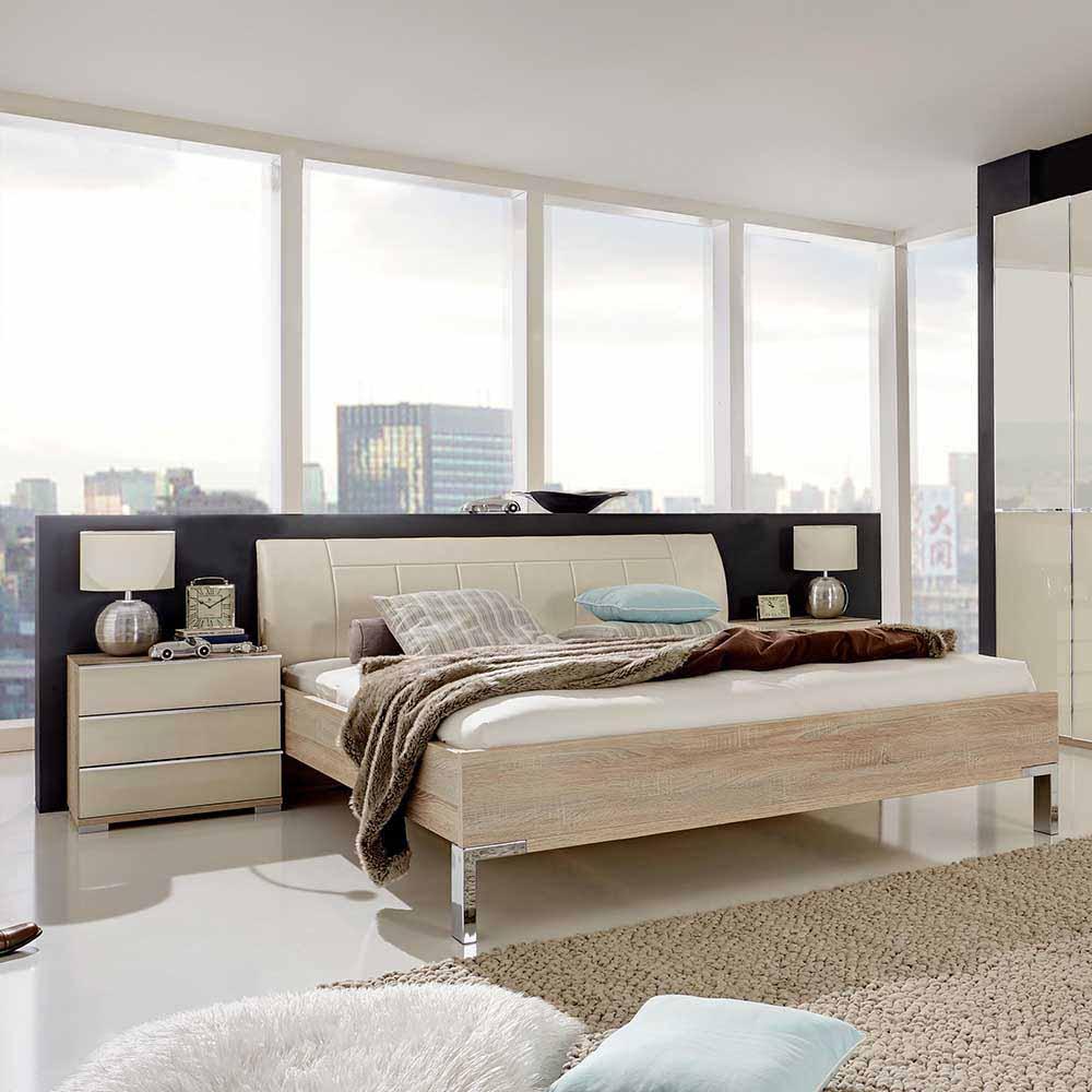 Ehebett mit Nachtkommoden Eiche Sägerau Creme Weiß (3-teilig)