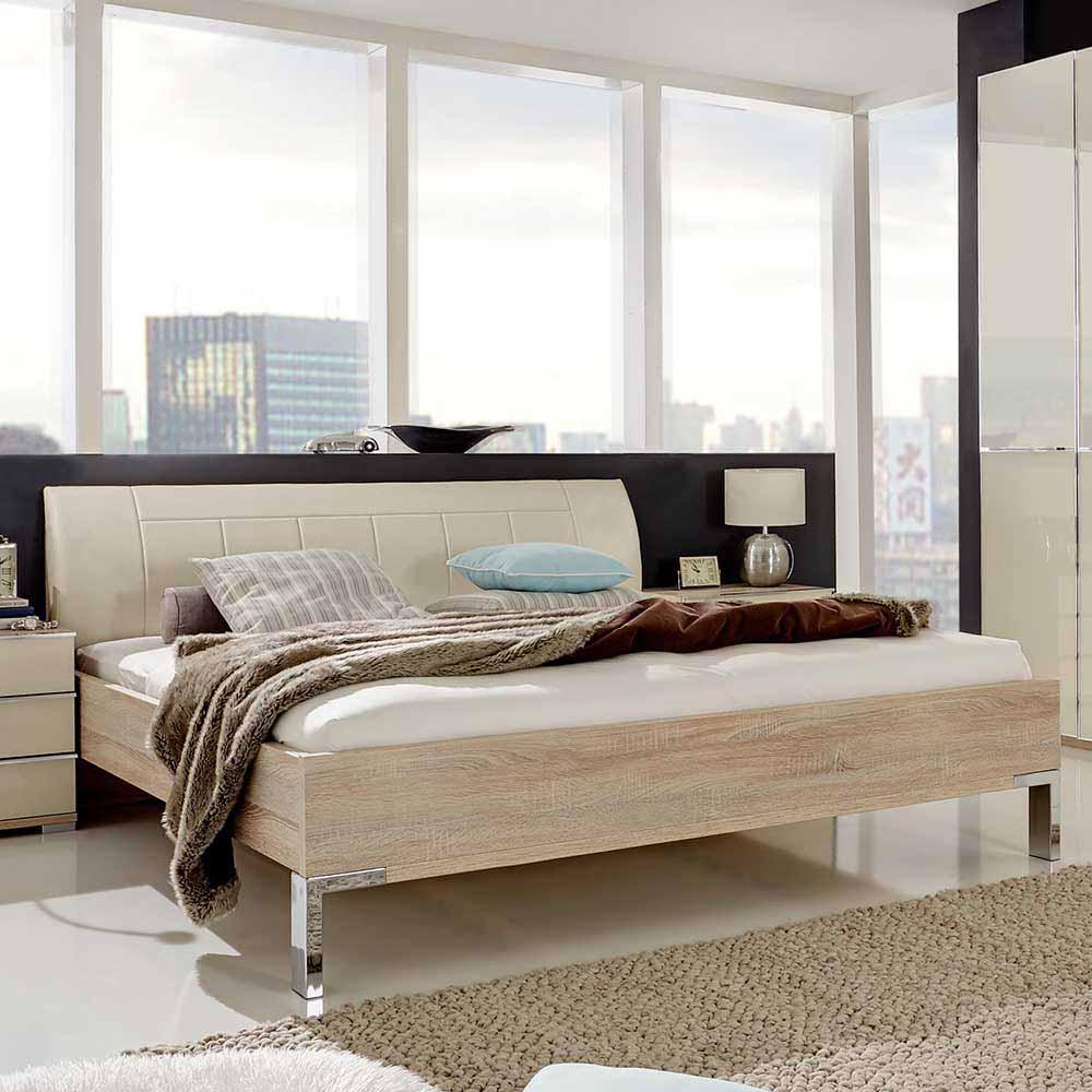 Doppelbett in Eiche Sägerau Polsterkopfteil in Creme Weiß