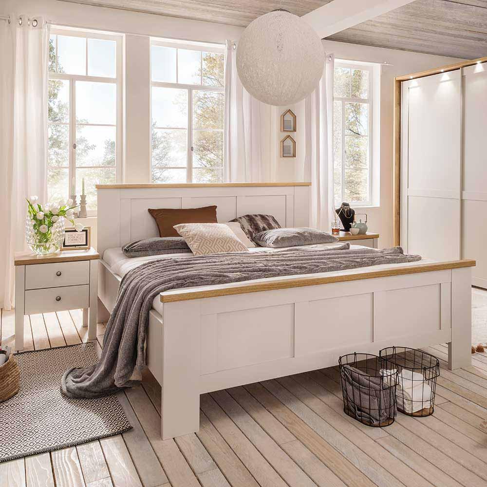 Landhaus Doppelbett in Beige Eichefarben mit Nachtkonsolen (3-teilig)