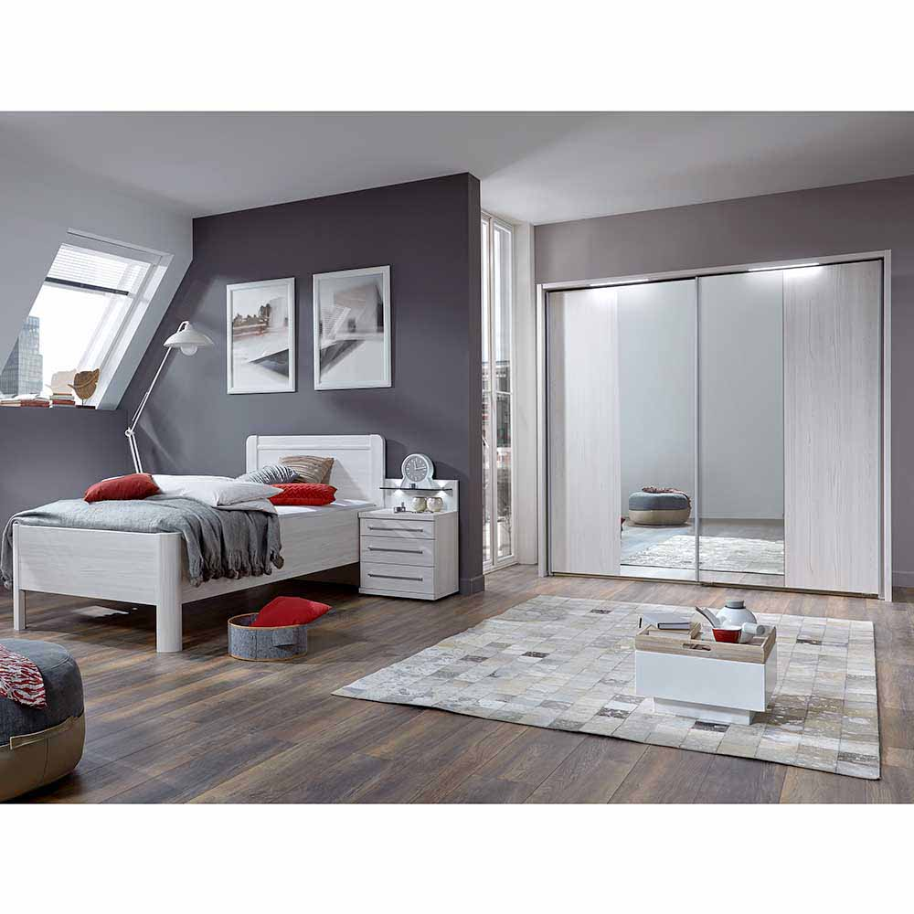 Schlafzimmerset mit Einzelbett Lärche Weiß (dreiteilig)