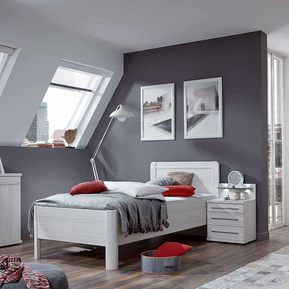 Singlebett in Weiß mit Nachtkonsole (2-teilig)