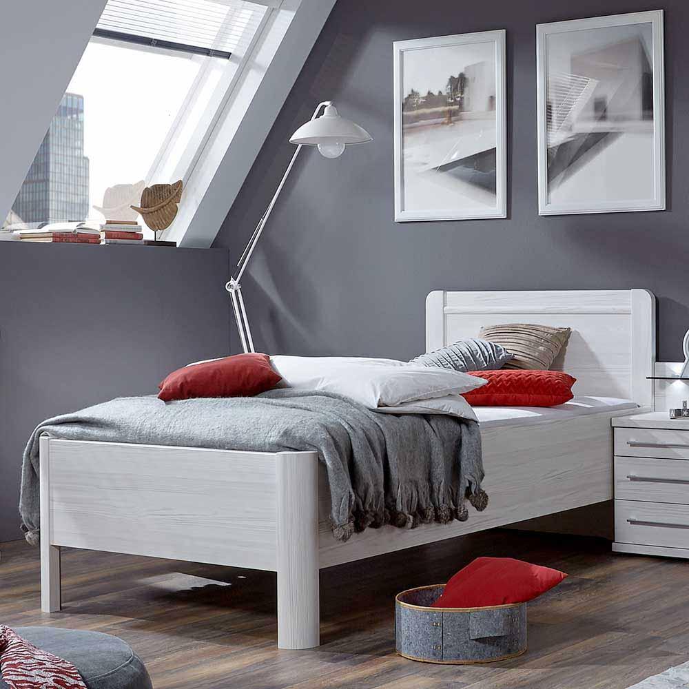 Einzelbett in Weiß Überlänge