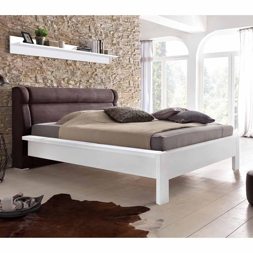 Bett in Weiß Pinie massiv Polsterkopfteil in Braun