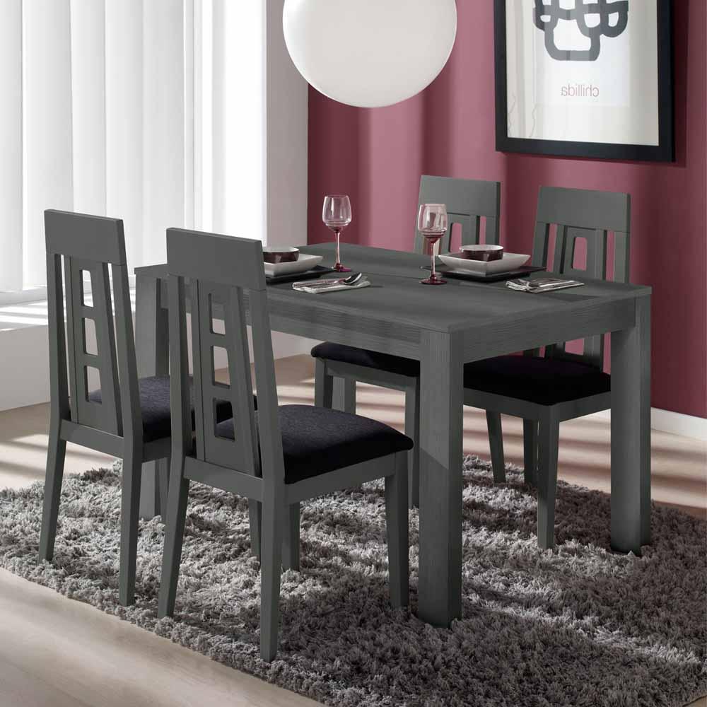 Essgruppe in Dunkelgrau Tisch ausziehbar (fünfteilig)