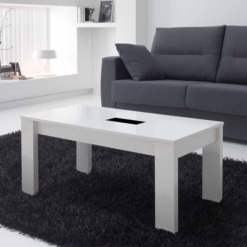 Wohnzimmer Couchtisch in Weiß Hochglanz mit Schwarzglas