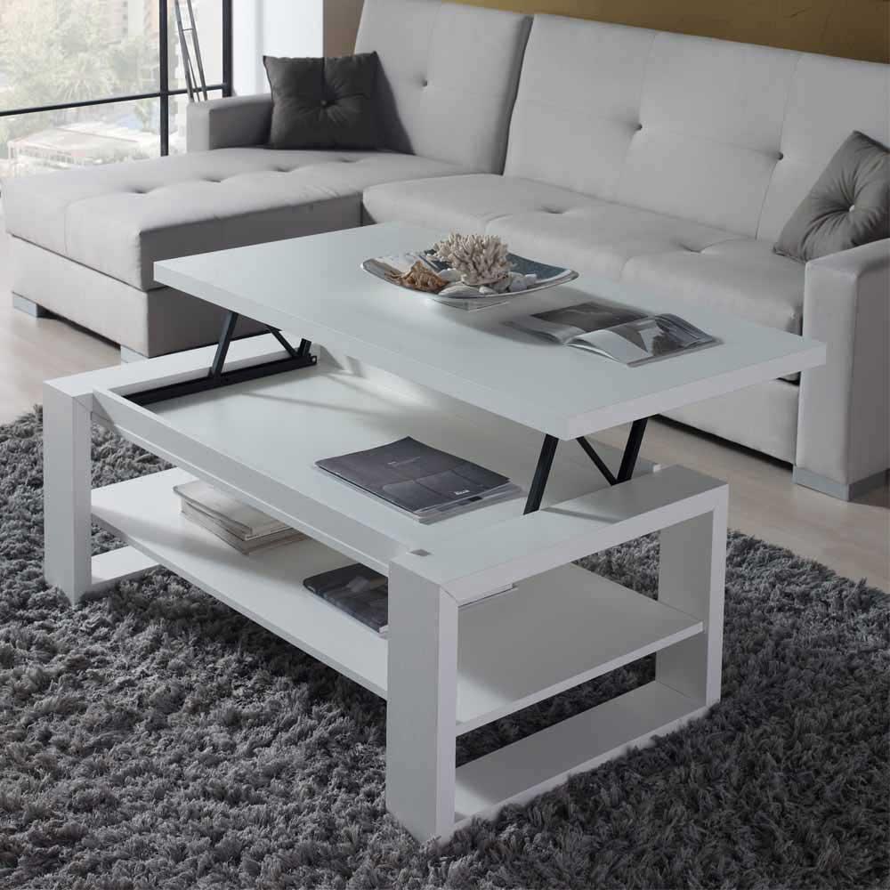 Stauraum Couchtisch in Weiß Tischplatte hochklappbar