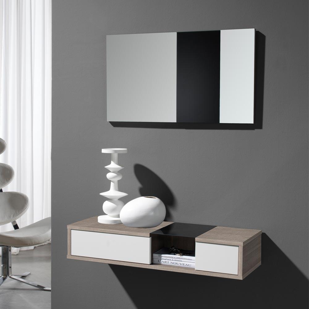 Flur Wandkonsole und Spiegel in Weiß Hochglanz Eiche Sonoma (2-teilig)   Wohnzimmer > Regale > Hängeregale   Holz   Holzwerkstoff   Furnitara