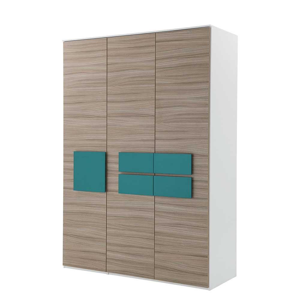 Design Kleiderschrank in Holz Petrol modern