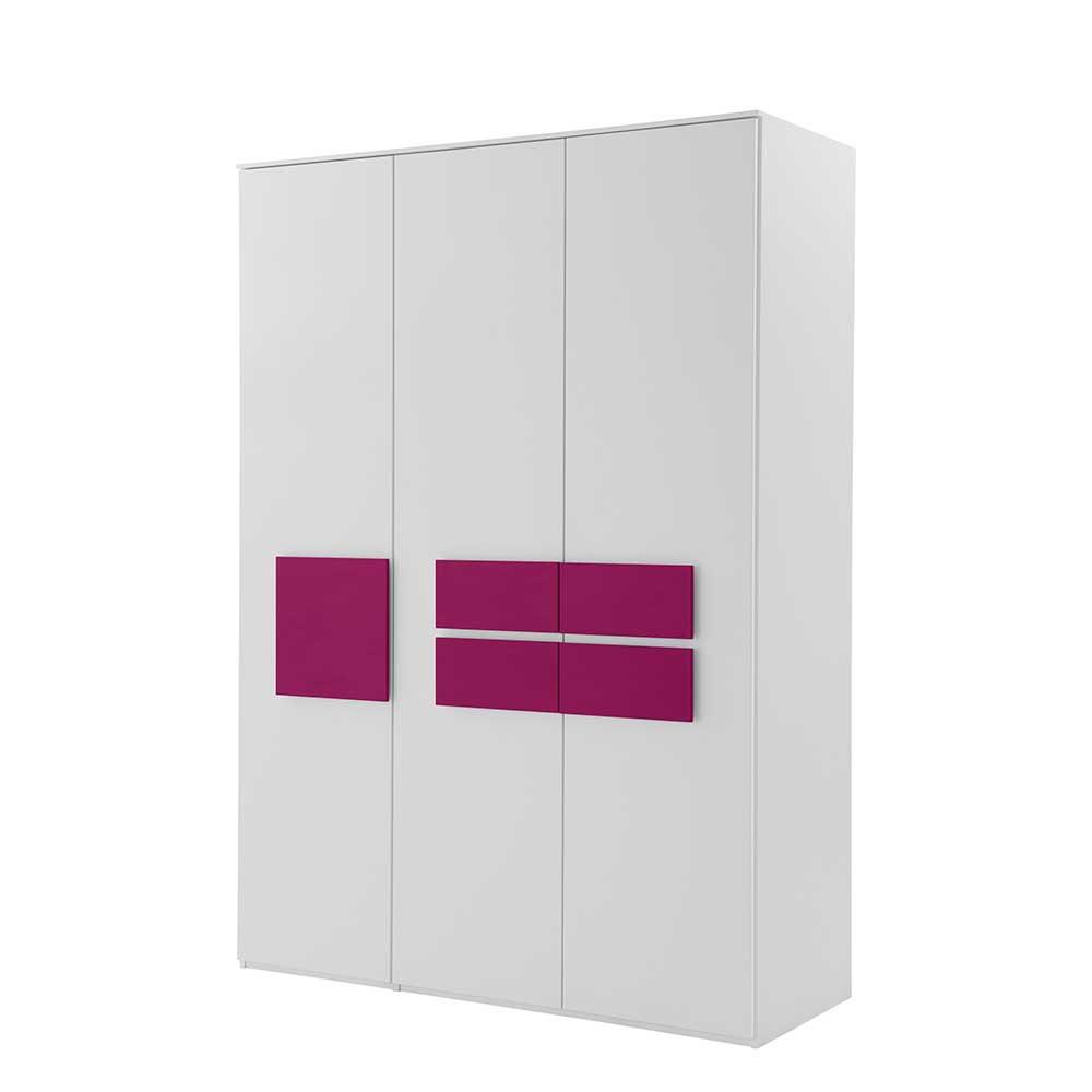 Jugendzimmerschrank in Weiß Pink 3 türig | Kinderzimmer > Jugendzimmer > Jugendschränke | Weiß | Holzwerkstoff | Spirinha