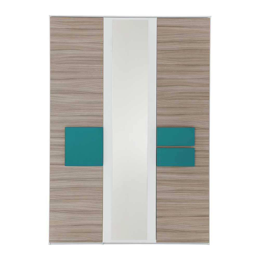 Jugendzimmer Kleiderschrank in Holz Petrol Spiegel | Kinderzimmer > Jugendzimmer > Jugendschränke | Spirinha
