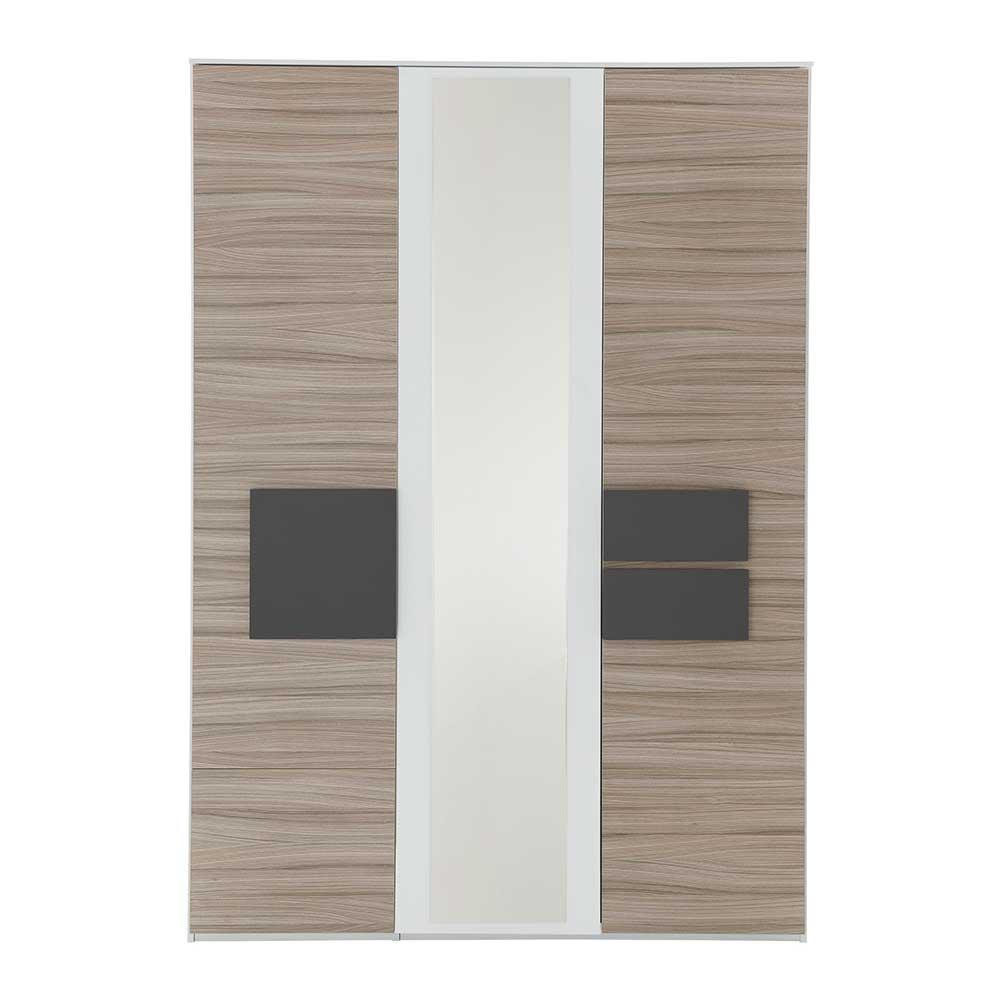 Schlafzimmer Kleiderschrank mit Spiegel Holz Anthrazit