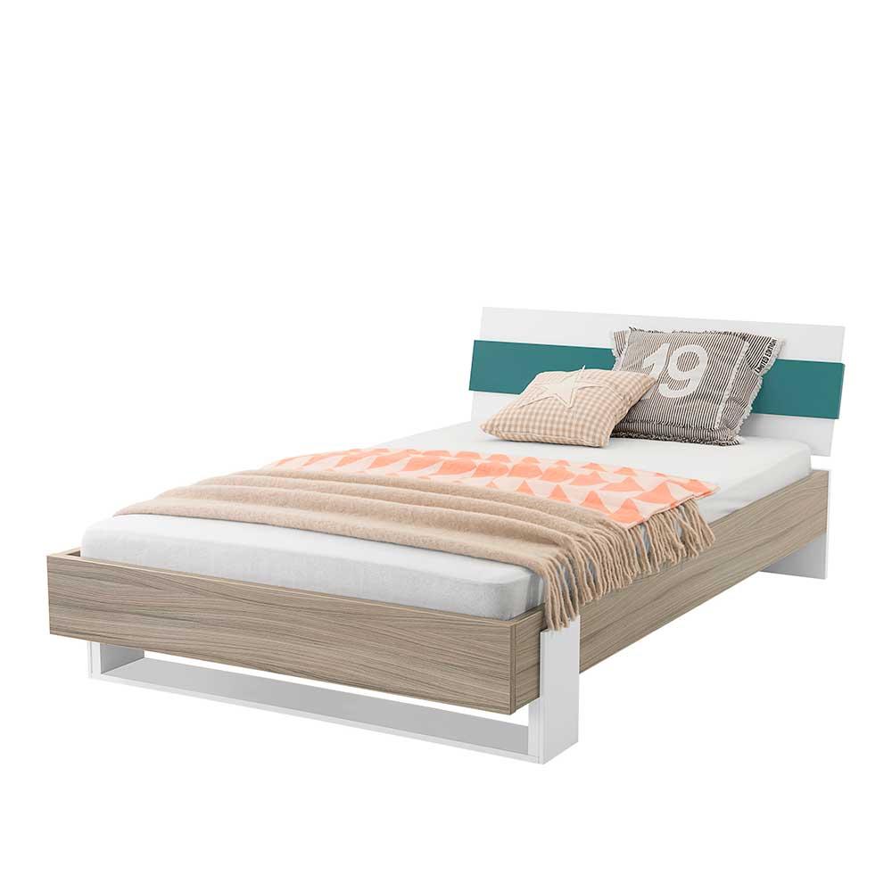 Jugendzimmerbett in Holz Petrol modern