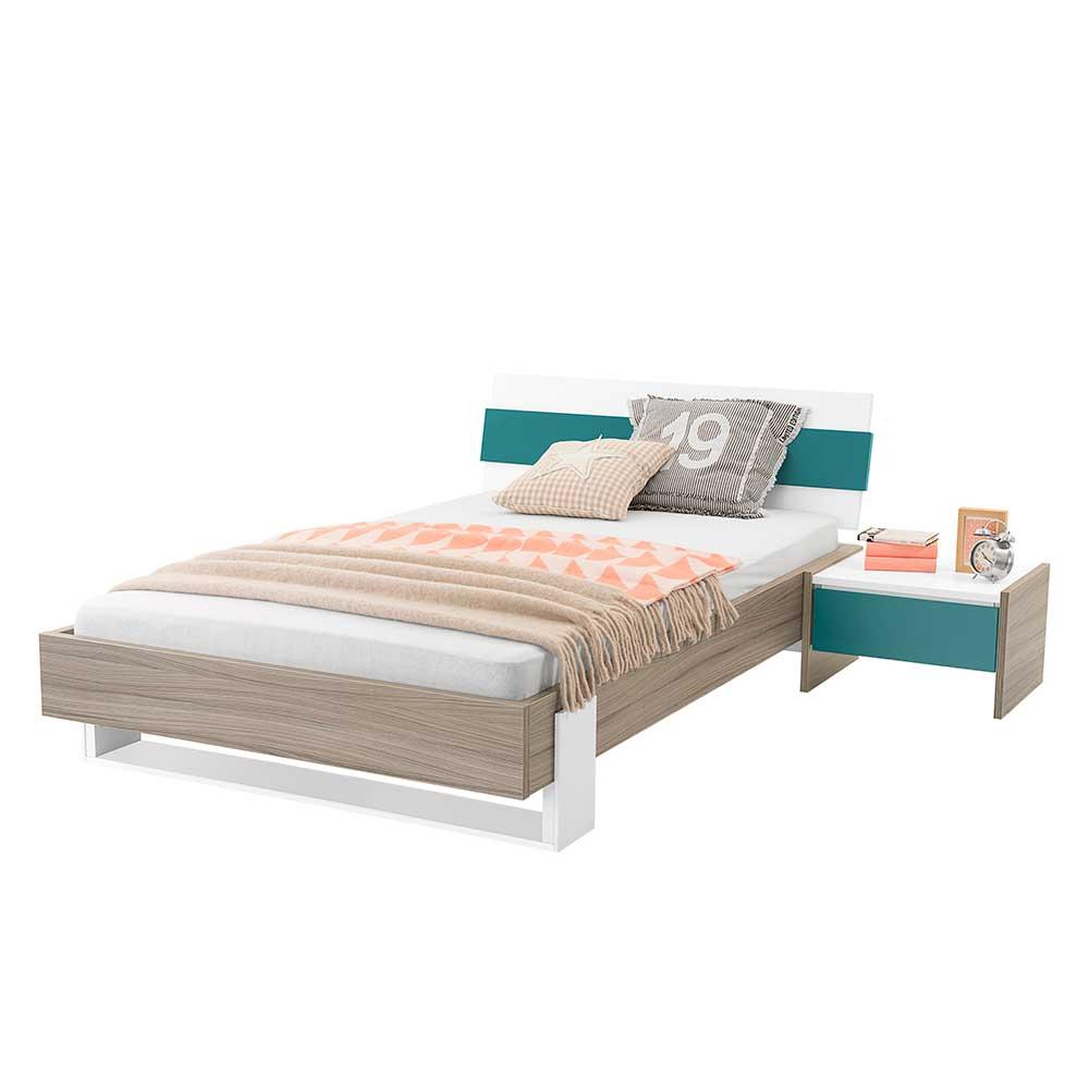 Jugendzimmer Set in Weiß Petrol modern (2-teilig) | Kinderzimmer > Jugendzimmer > Komplett-Jugendzimmer | Holz | Holzwerkstoff | Spirinha