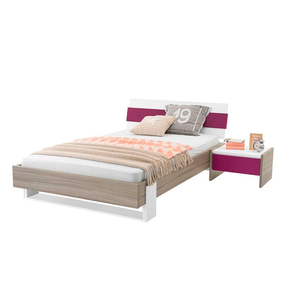 Mädchen Jugendbett in Holz Pink mit Nachtkonsole (2-teilig) | Kinderzimmer > Jugendzimmer > Jugendbetten | Spirinha