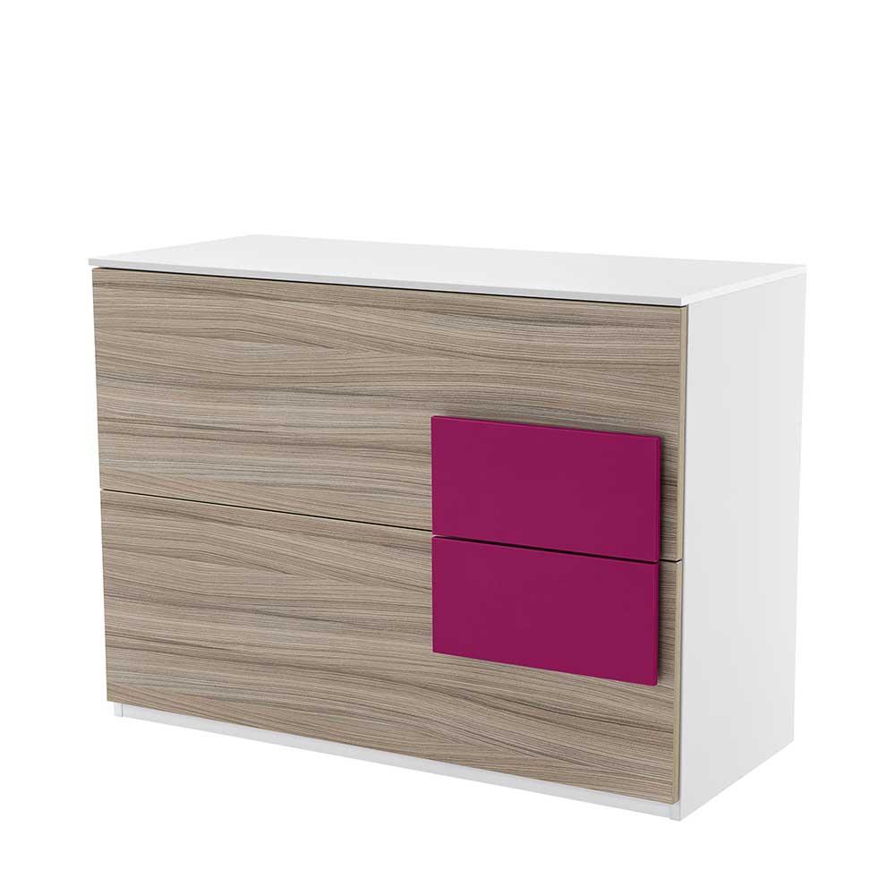 Jugendzimmer Kommode in Holz Pink 100 cm breit