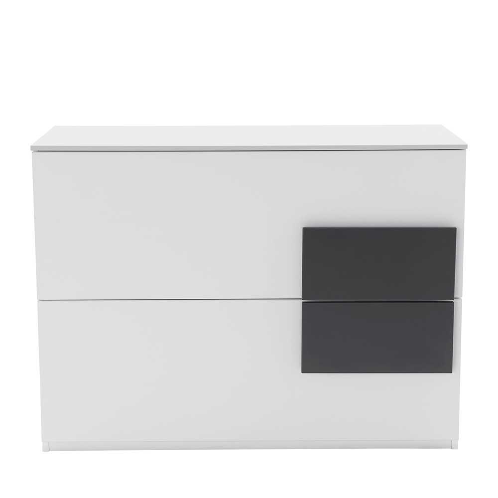 Design Kommode in Weiß Anthrazit 100 cm
