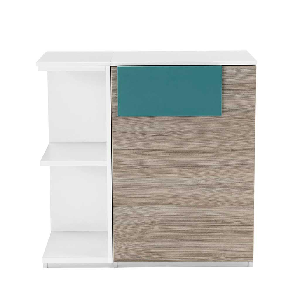 Schlafzimmer Kommode in Weiß Holz Petrol mit offenen Fächern
