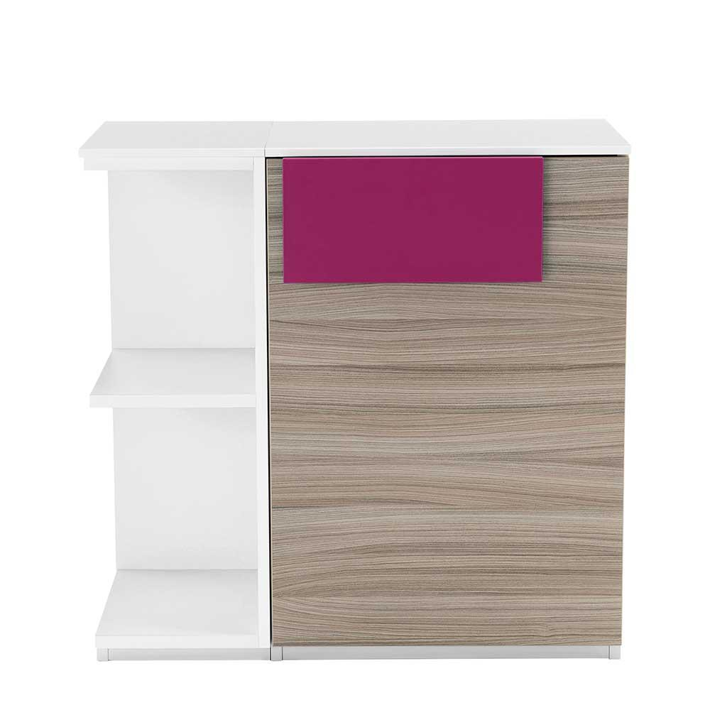 Kommode mit Regal Holz Pink