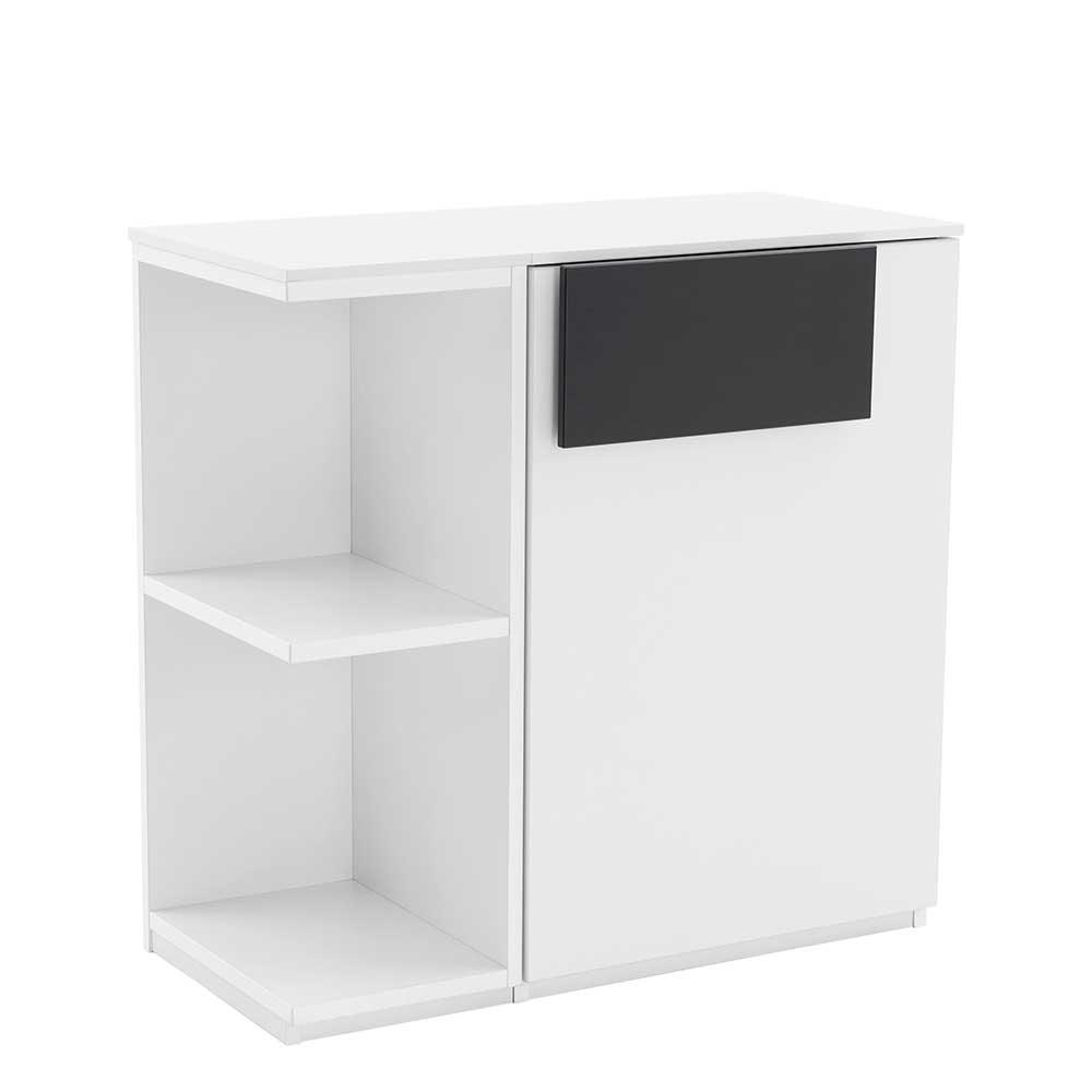 Schlafzimmer Kommode in Weiß Anthrazit mit Regal