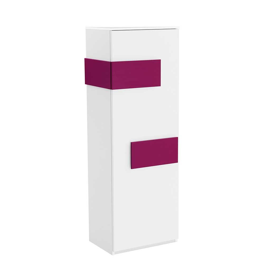 Kleiderschrank in Weiß Pink schmal