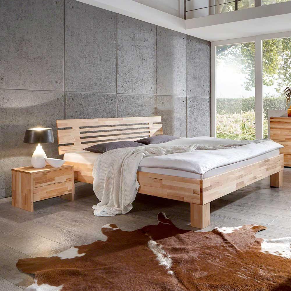 Einzelbett aus Kernbuche Massivholz modern (zweiteilig)