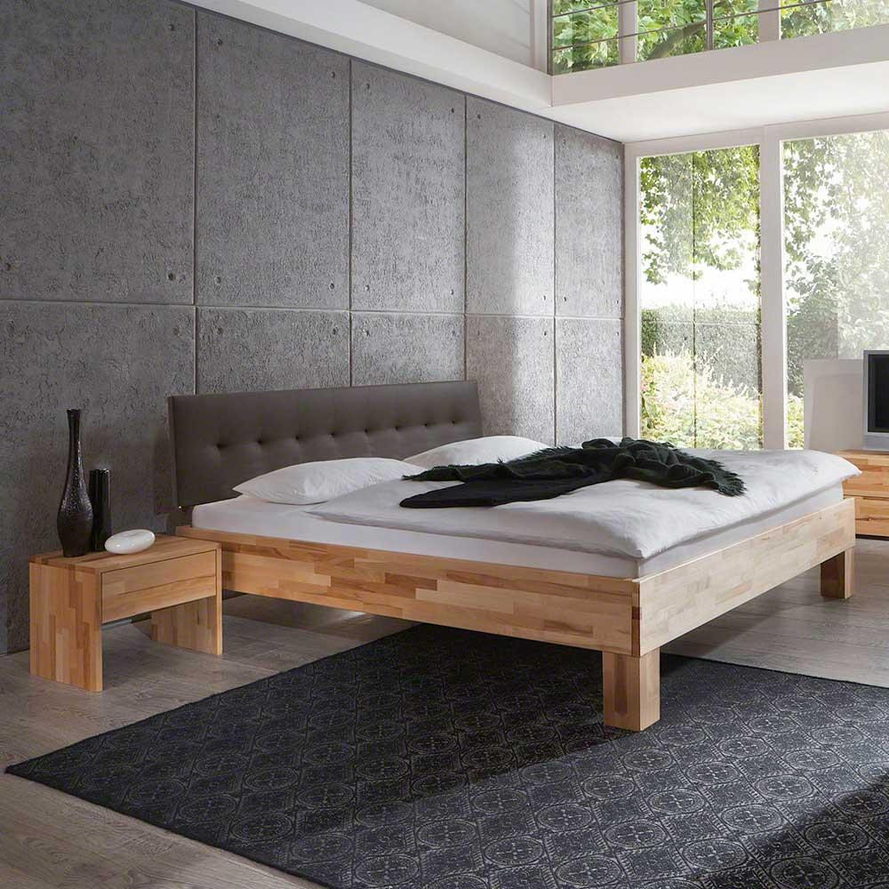 Holzbett mit Nachtkonsole Polsterkopfteil in Braun (zweiteilig)