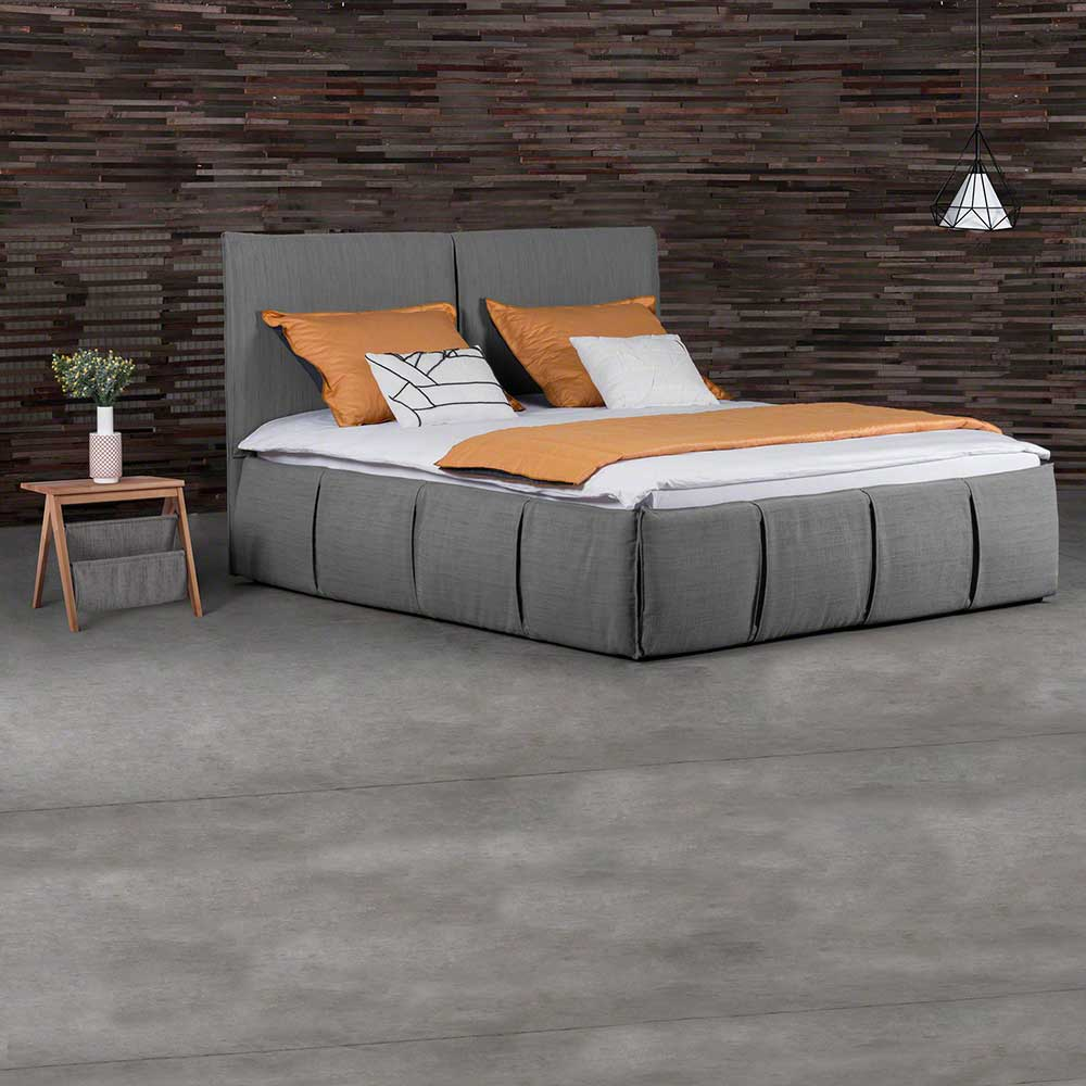 Design Polsterbett in Grau Webstoff mit 2 Nachttischen (3-teilig) | Schlafzimmer > Betten > Polsterbetten | BestLivingHome