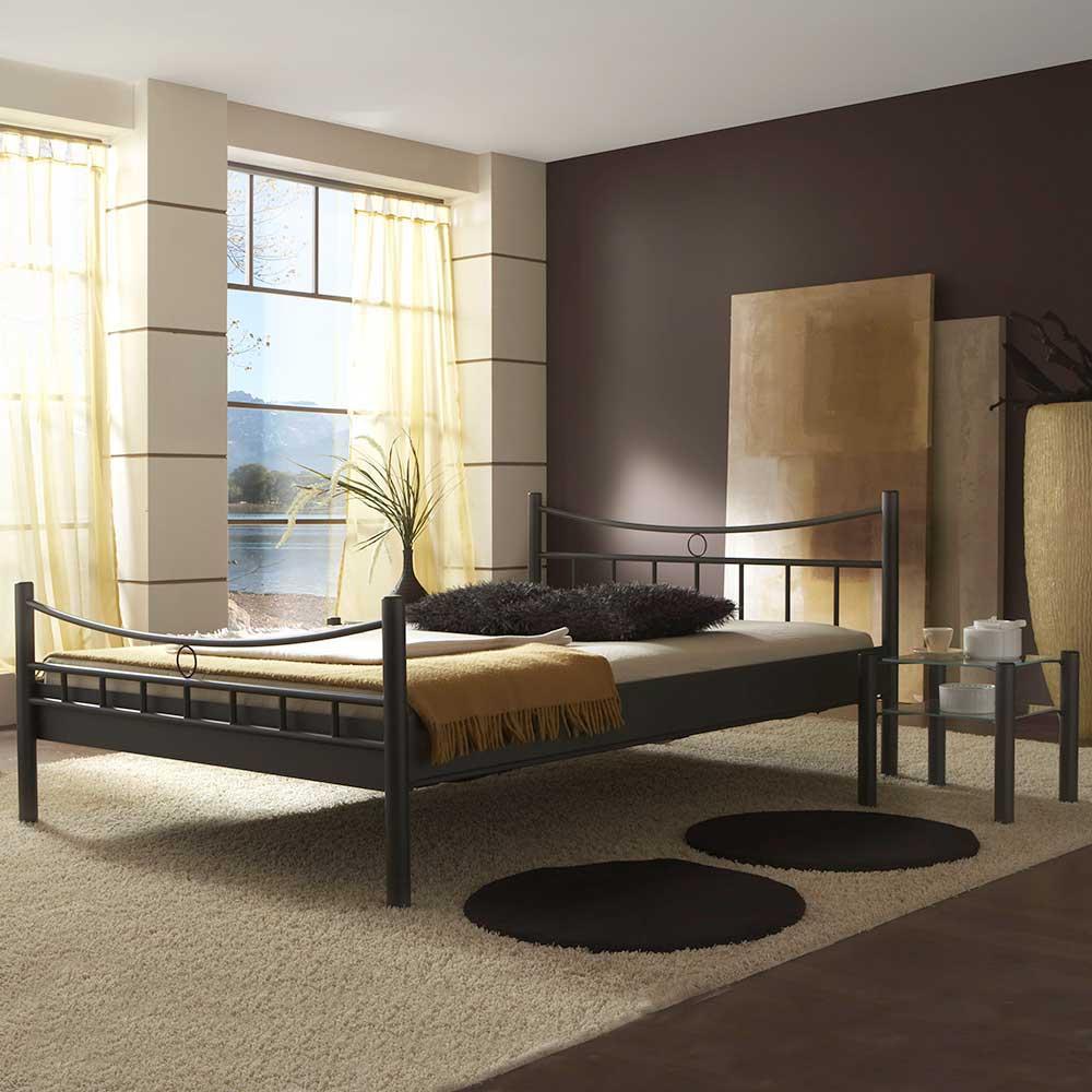 Metall Doppelbett mit Nahchttischen Eisen Schwarz (3-teilig)