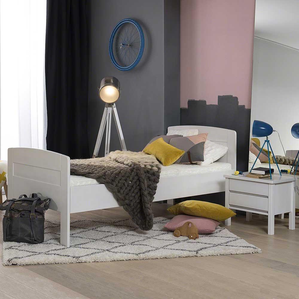 Komfortbett in Weiß Buche massiv Nachttisch (2-teilig)