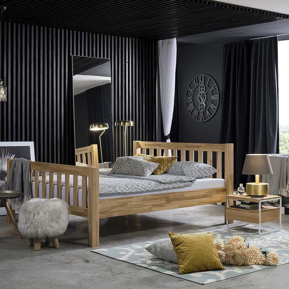 Bett aus Kernbuche massiv mit Nachttischen (3-teilig)