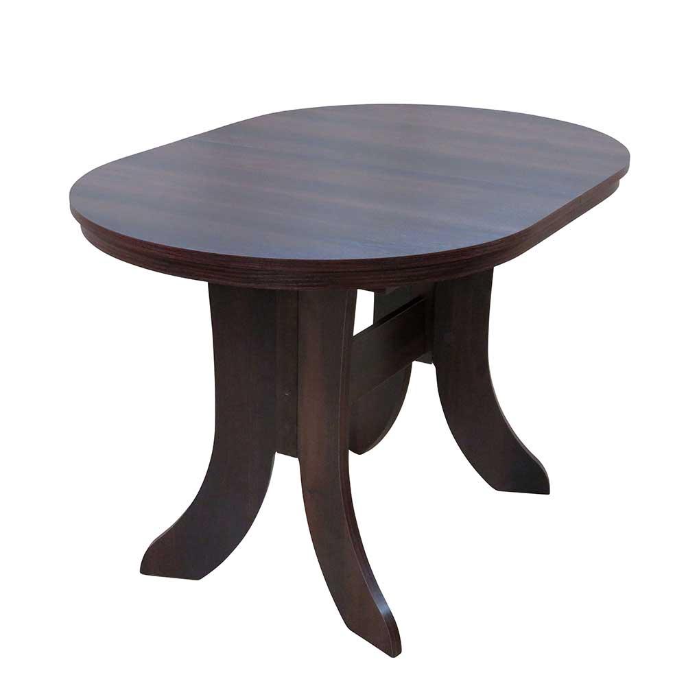 Ovaler Esstisch in Nussbaumfarben ausziehbar