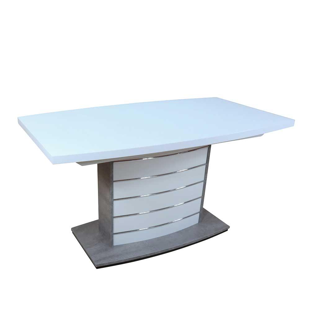 Säulen Esstisch in Bootsform Weiß Silber ausziehbar