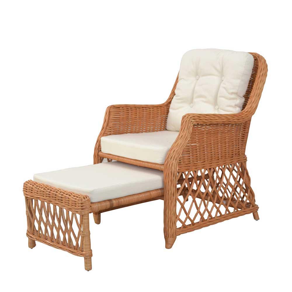 Rattansessel in Honigfarben herausziehbarem Fußteil | Wohnzimmer > Sessel > Rattansessel | Gelb | Geflecht | Möbel4Life