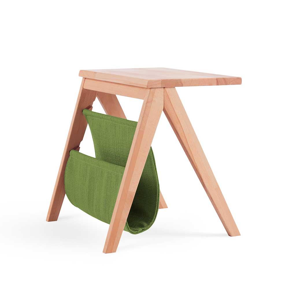 Massivholz Nachttisch aus Kernbuche Ablage in Grün Webstoff | Schlafzimmer > Nachttische | Kernbuche - Massivholz - Microvelour - Geölt | BestLivingHome