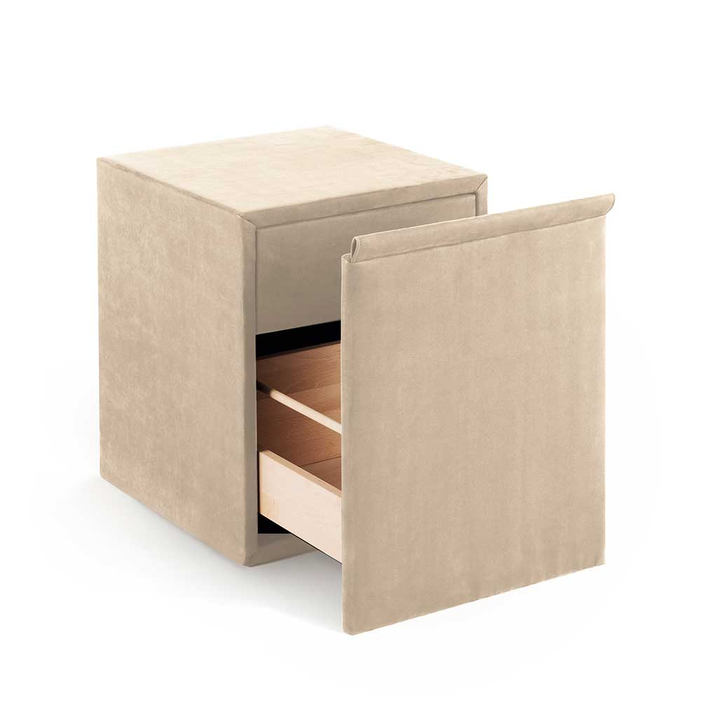 Nachtkonsole in Creme Weiß Stoff Schublade